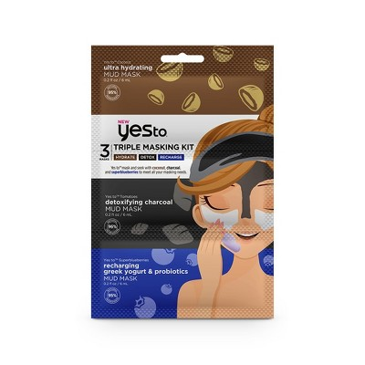 Yes To Hydrate Detox And Recharge Triple Masking Kit - 3pc