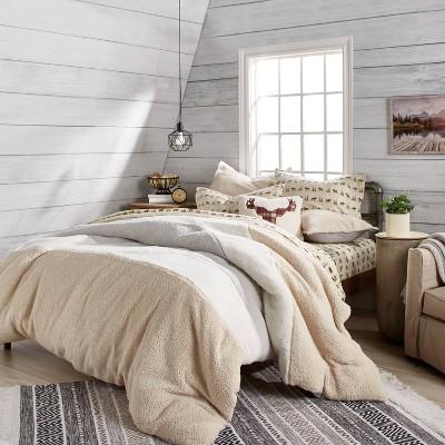 Colorblock Sherpa Comforter Set Natural - G.H. Bass