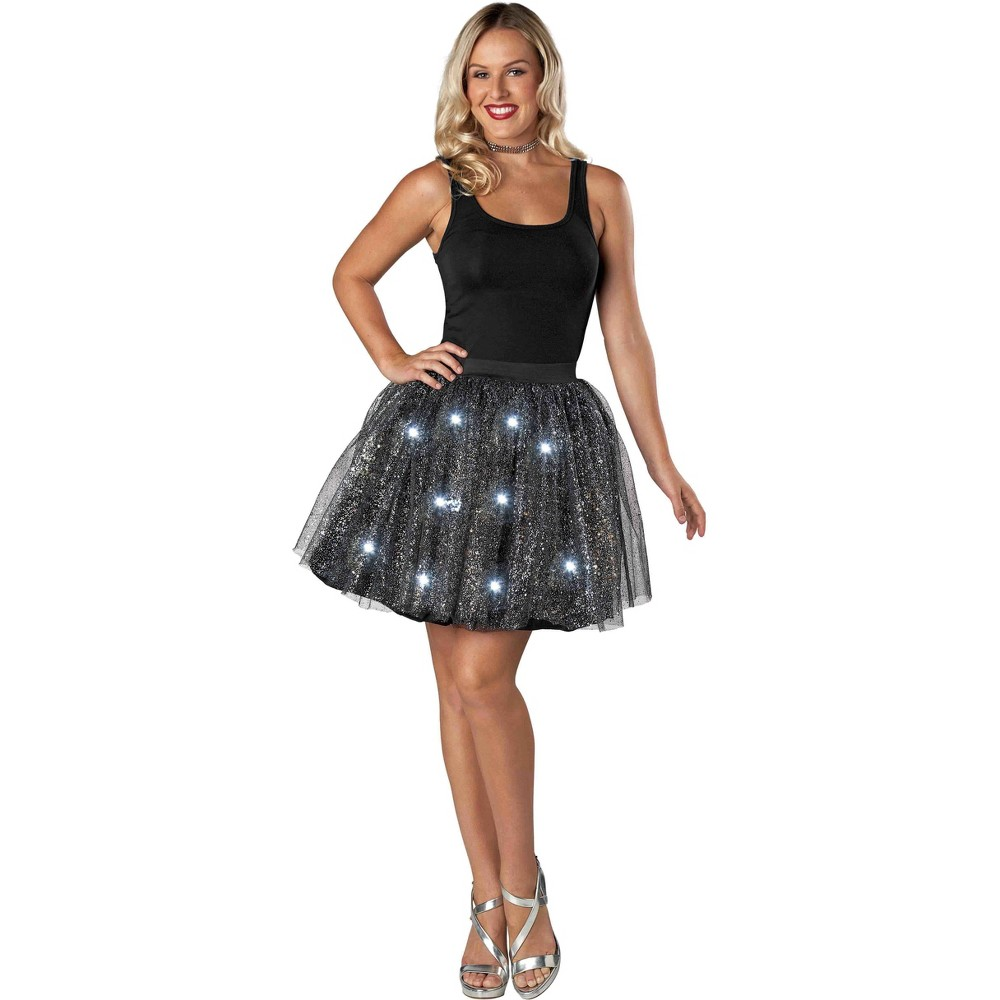 Women's Light up Tutu Black/Silver New Year's Eve Accessory - Spritz, Multi-Colored