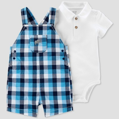 Baby Boys' 2pc Plaid Elephant Shortall Set - Just One You® made by carter's White/Blue 6M