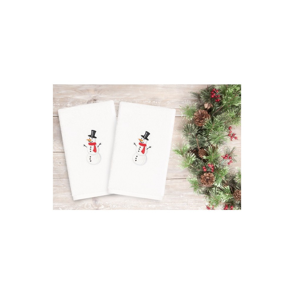 Image of 2pk Snowman Hand Towels White - Linum Home Textiles