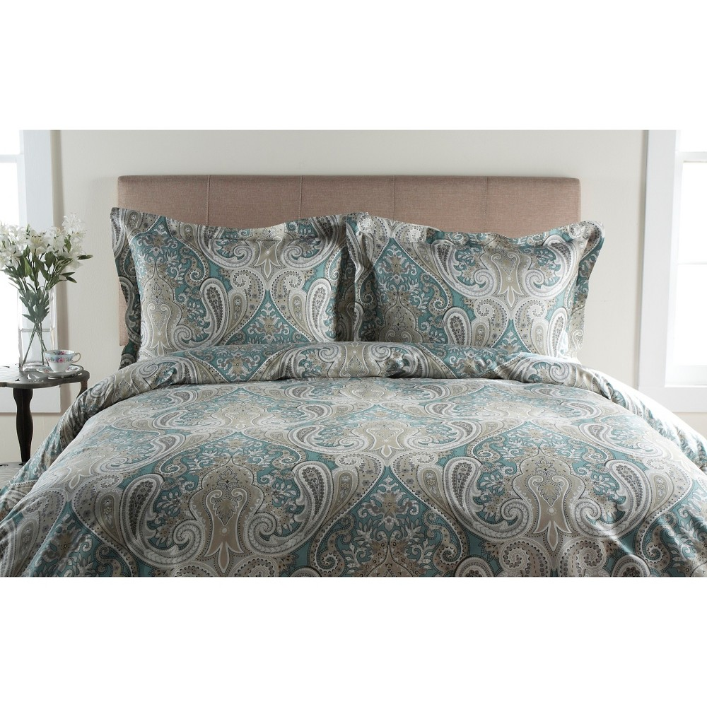 Image of Aqua (Blue) Crystal Palace 100% Cotton Duvet Set King 3pc - Elite Home Products