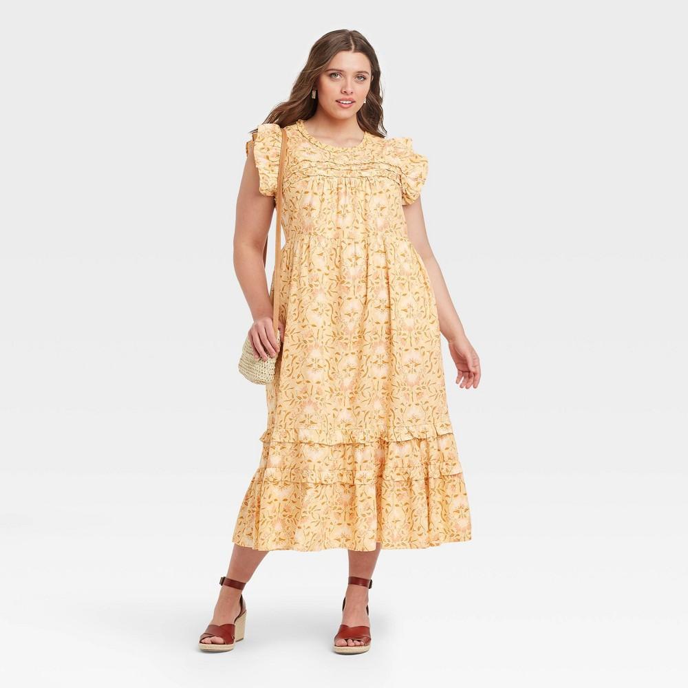 Cottagecore Clothing, Soft Aesthetic Womens Plus Size Floral Print Ruffle Sleeveless Dress - Universal Thread Yellow 4X $29.74 AT vintagedancer.com