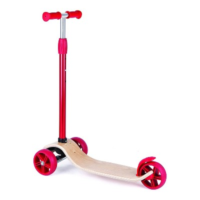 Hape Street Surfer Kids Lightweight Wooden Kick Push Balance Scooter Bike with 3 Wheels for Kids Ages 3 to 12, Red