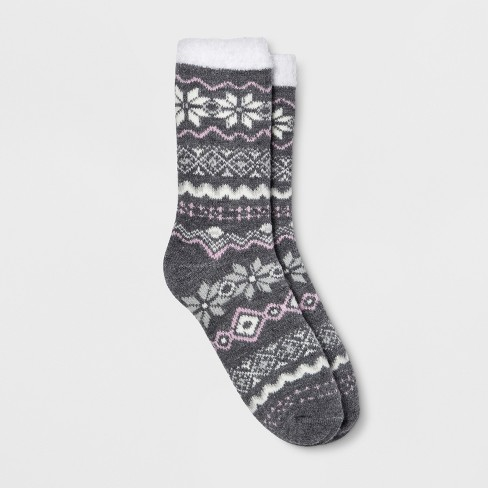 Women's Fair Isle Double Lined Cozy Crew Casual Socks - Gilligan & O'Malley™ Charcoal One Size - image 1 of 1