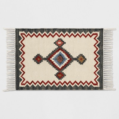 Grey and Cream Southwest Woven Accent Rug 2'x3' - Threshold™