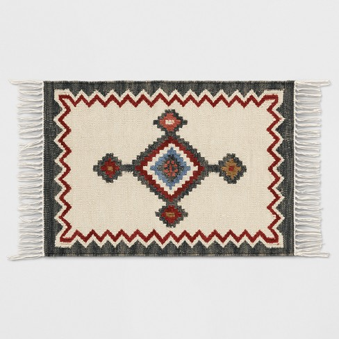 Grey and Cream Southwest Woven Accent Rug 2'x3' - Threshold™ - image 1 of 3