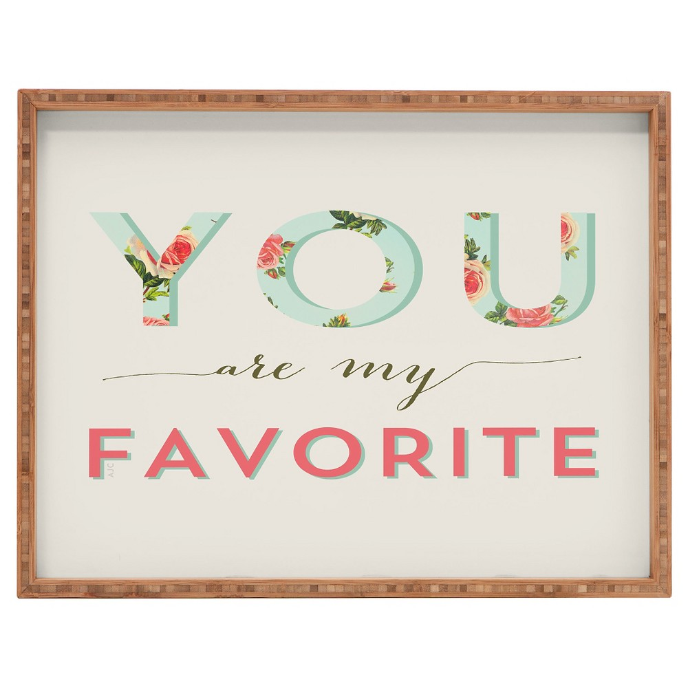 Image of Allyson Johnson Floral You Are My Favorite Rectangle Tray - Pink - Deny Designs, Beige