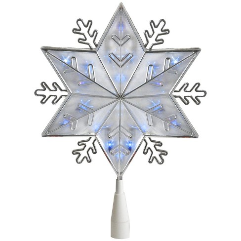 "Northlight 10"" Silver 6-Point Snowflake Christmas Tree Topper - Blue Lights - image 1 of 2"
