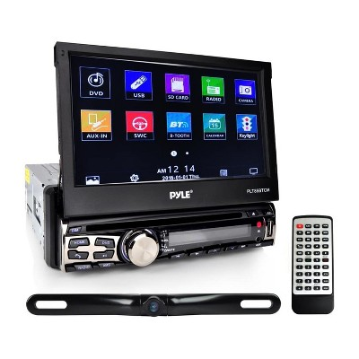 Pyle PLT85BTCM 7 Inch Bluetooth Touch Screen Waterproof Headunit Receiver and Backup Car Camera Kit with Hands Free Calling, Remote and Disc Player