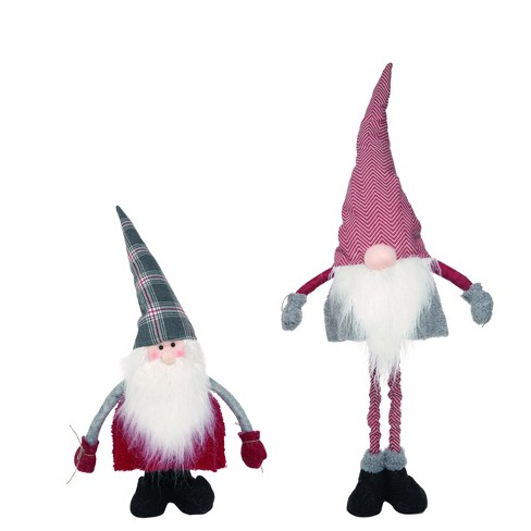 Transpac Fabric 15 In Gray Christmas Plush Telescoping Santa Gnome Set Of 2 Target