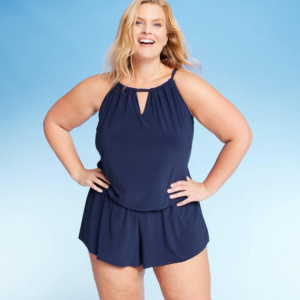 Vintage Bathing Suits | Retro Swimwear | Vintage Swimsuits Women39s Plus Size High Neck Swim Romper - Aqua Green174 $42.99 AT vintagedancer.com