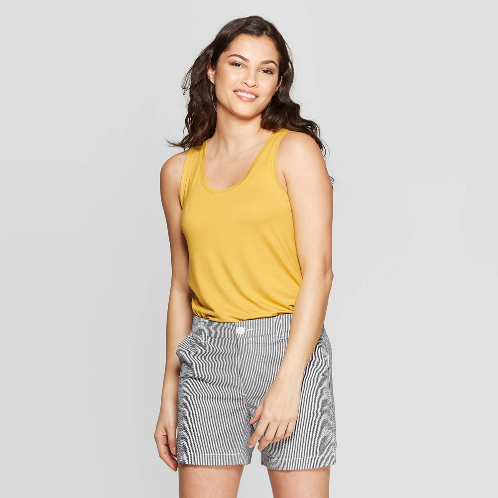 Women's Sleeveless Scoop Neck Tank Top - A New Day Yellow S