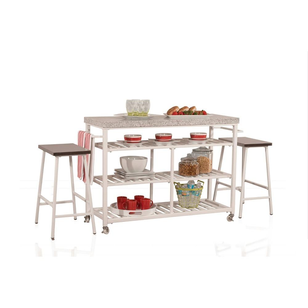 3pc Kennon Granite Kitchen Cart Counter Set White/Gray - Hillsdale Furniture