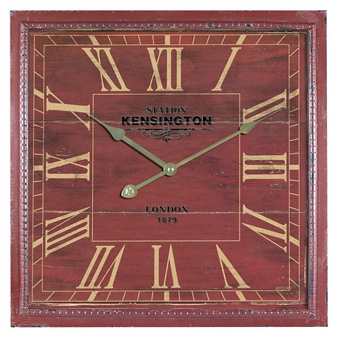 "15"" Square Wall Clock Distressed Red - Yosemite Home Decor® - image 1 of 2"