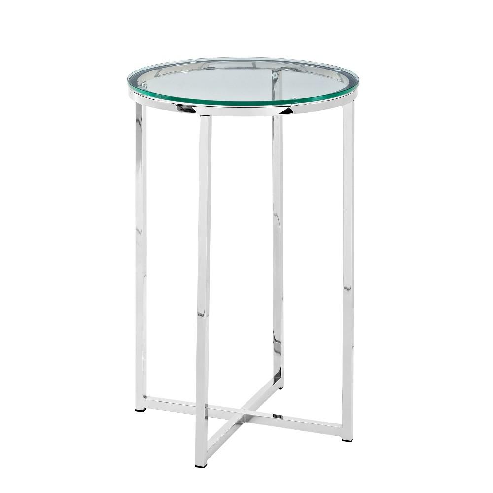 "Image of ""16"""" Round Side Table Glass/Chrome - Saracina Home, Glass/Grey"""