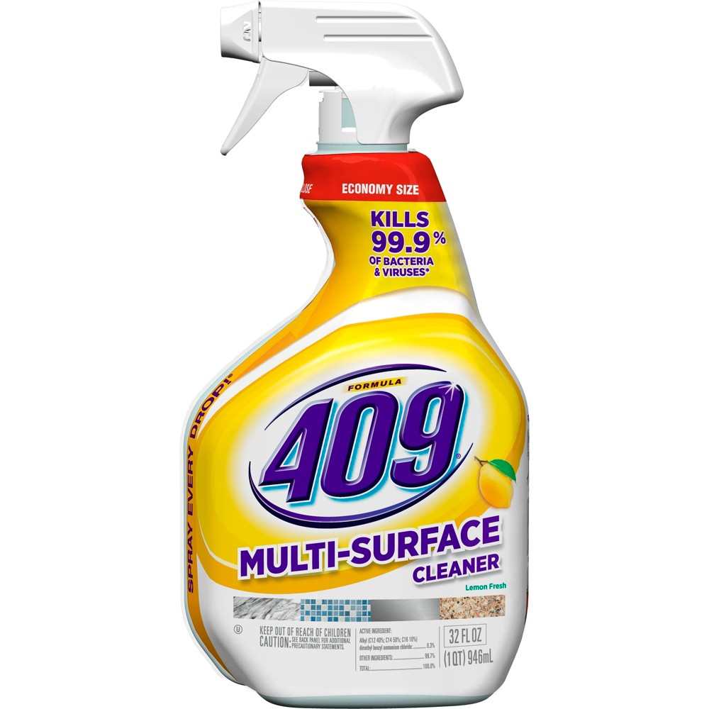 Formula 409 Powerful All Purpose Cleaner Spray Bottle Lemon 32 oz Formula 409 Multi-Surface Cleaner Spray in Lemon scent, is the ultimate cleaner, degreaser and disinfectant for your home. The antibacterial formula quickly cuts through grease and grime and disinfects as you wipe, killing over 99 percent of germs. It prevents mold and mildew growth and deodorizes as you clean your kitchen and bathroom surfaces, leaving behind a fresh lemon scent. This no bleach, non abrasive, all purpose spray cleaner now cleans 40 percent more per spray, based on lab testing vs. previous offering, and with this bottle's Smart Tube technology you are guaranteed to spray every last drop. This household cleaner works great both indoors and outdoors on a wide range of hard nonporous surfaces including stovetops, sinks, countertops, microwave exteriors and more. Usage Directions: Spray 6 to 8 inches from surface. General Cleaning: Spray product straight onto soils, and wipe clean with a dry paper towel or lint-free cloth. Repeat for heavily soiled areas. Refill only with this product. To Spray Every Drop: Tilt bottle at a downward angle while spraying. TO Disinfect: Spray until thoroughly wet. Let stand 10 minutes. Then wipe. All surfaces that come in contact with food must be rinsed with potable water. TO Sanitize Non-Food-Contact Surfaces AND Deodorize: Spray until thoroughly wet. Let stand 30 seconds, then wipe. Caution Statements: Causes moderate eye irritation. Avoid contact with eyes, skin or clothing. Wash thoroughly with soap and water after handling. Avoid contact with foods. Contains no phosphorus. Not harmful to septic systems.