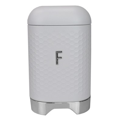 Michael Graves Design Soho Large 7 Cup Capacity Tin Flour Canister, White