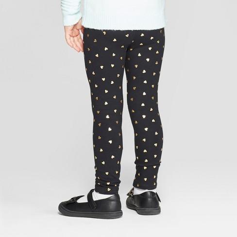 e6c4cc09577d2 Toddler Girls' Heart Leggings - Cat & Jack™ Black/Gold : Target