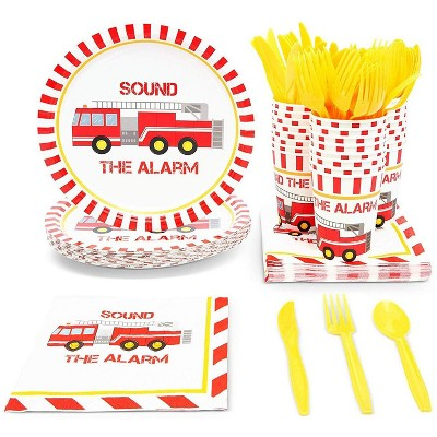 Serves 24 Fire Truck Theme Party Supplies Plates, Cups, Napkins, Utensils