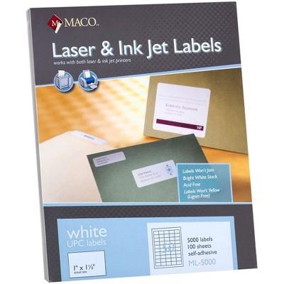 """Chartpak UPC Labels 1""""x1-1/2"""" 5000/BX White ML5000"""