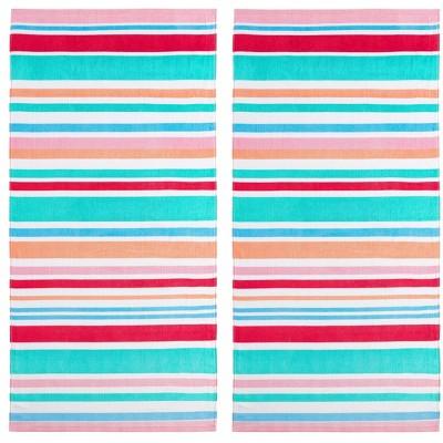 2pk Cabana Striped Fiber Reactive Printed Beach Towels - Mudd
