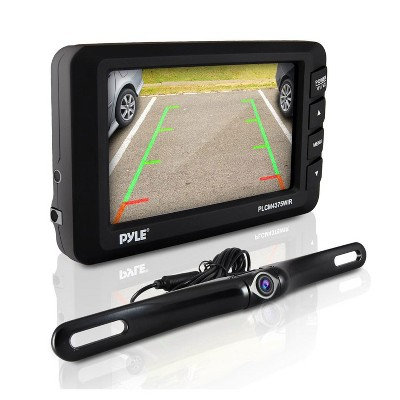 Pyle PLCM4375WIR Waterproof Adjustable Angle Wireless Night Vision Rearview Backup Car Camera and Monitor System 4.3 Inch Display and Parking Assist