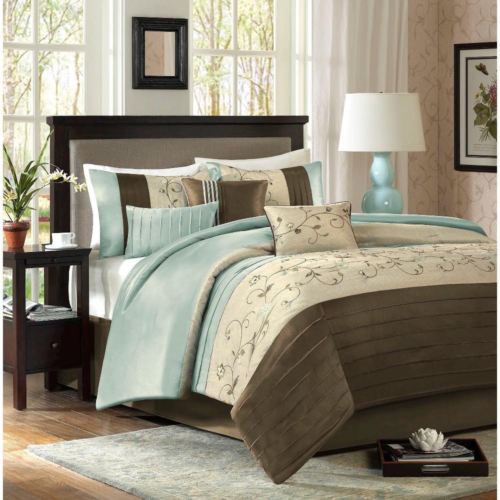 Monroe 7 Piece Embroidered Comforter Set - Blue (King)