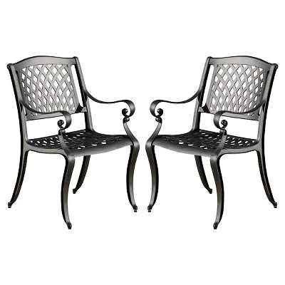 Hallandale Set of 2 Cast Aluminum Patio Chairs - Black Sand - Christopher Knight Home