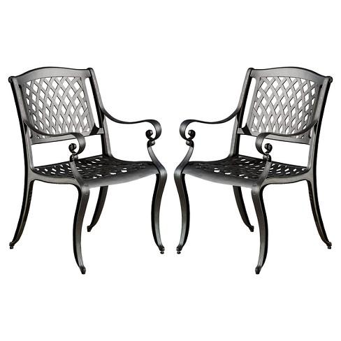 Wondrous Hallandale Set Of 2 Cast Aluminum Patio Chairs Black Sand Christopher Knight Home Inzonedesignstudio Interior Chair Design Inzonedesignstudiocom