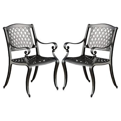 Amazing Hallandale Set Of 2 Cast Aluminum Patio Chairs   Black Sand   Christopher  Knight Home