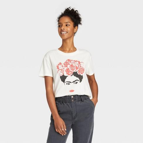 Women's Frida Outline Short Sleeve Graphic T-Shirt - White - image 1 of 2