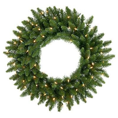 24  Pre-Lit Christmas Camdon Fir Wreath - White LED Lights