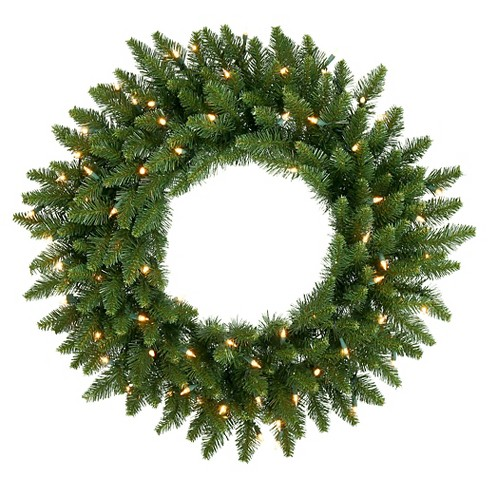 "20"" Pre-Lit Christmas Camdon Fir Wreath - White Lights - image 1 of 1"