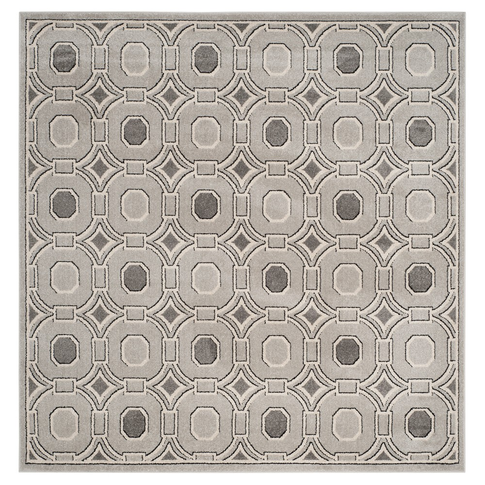 Light Gray/Ivory Abstract Loomed Square Area Rug - (7'x7') - Safavieh