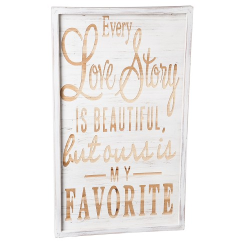"""Love Story"" White Wash Wooden Wall Décor - image 1 of 2"