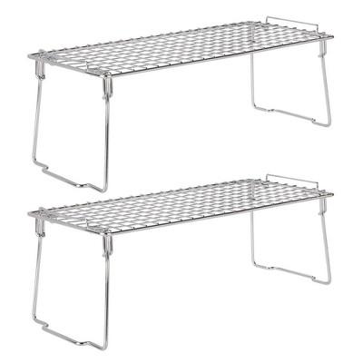 mDesign Metal Stackable Kitchen Storage Organizer Shelf, 2 Pack