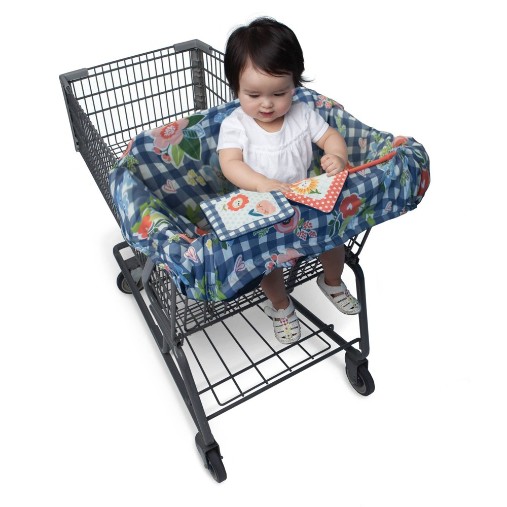Image of Boppy Shopping Cart and Restaurant High Chair Cover - Navy Blooms