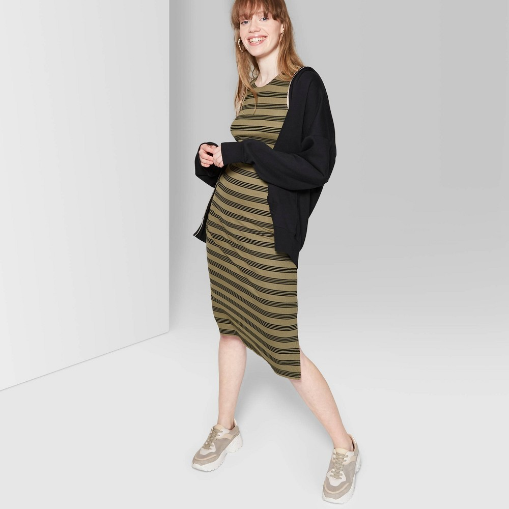 8cf440a34a2884 Womens Striped Sleeveless Round Neck Knit Tank Midi Dress Wild Fable Olive  M Green