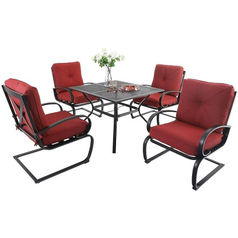 William 5pc Patio Dining Set With, Red Patio Table Set