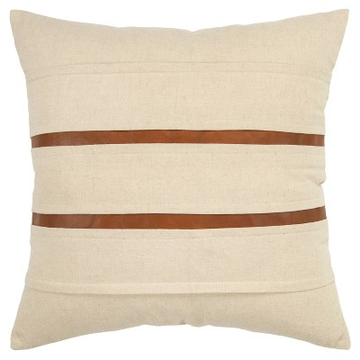 """20""""x20"""" Oversize Striped Polyester Filled Square Throw Pillow Cream - Donny Osmond Home"""