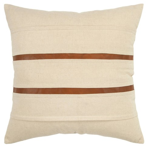 """20""""x20"""" Oversize Striped Polyester Filled Square Throw Pillow Cream - Donny Osmond Home - image 1 of 4"""