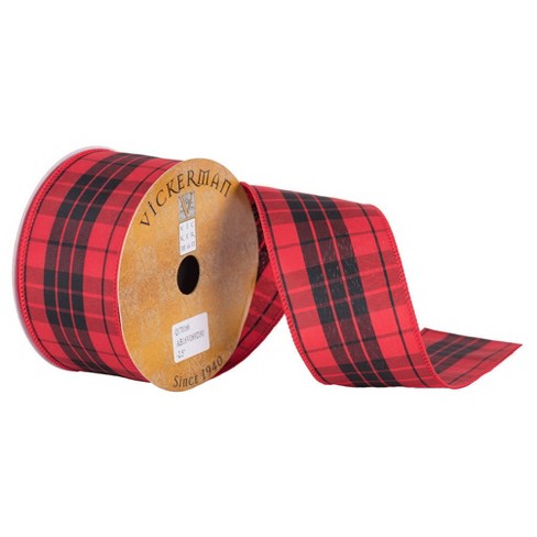 "2.5"" Red Black Plaid Wired Ribbon 30ft - image 1 of 1"