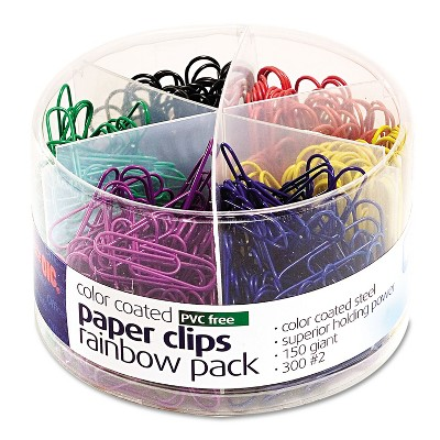 Officemate Plastic Coated Paper Clips Assorted Colors 300 Small Clips 150 Giant Clips 97227