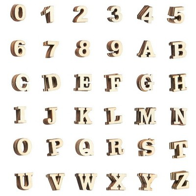Juvale 144-Piece Small Wooden Alphabet Letters and Numbers, Natural Wood Blocks for Kids, DIY Arts & Crafts, Home Decor, 1 inch
