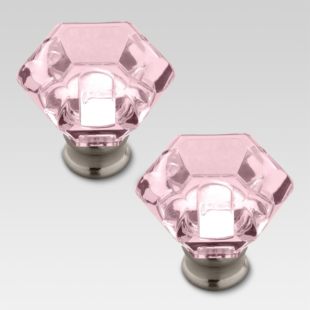 Acrylic Faceted knob - Pink - 2 pack - Threshold, Light Pink