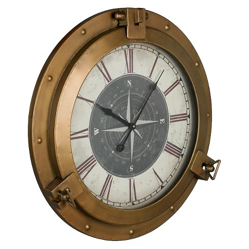 "Celestyn Compass 27"" Round Wall Clock Brass Finish - Cooper Classics® - image 1 of 1"