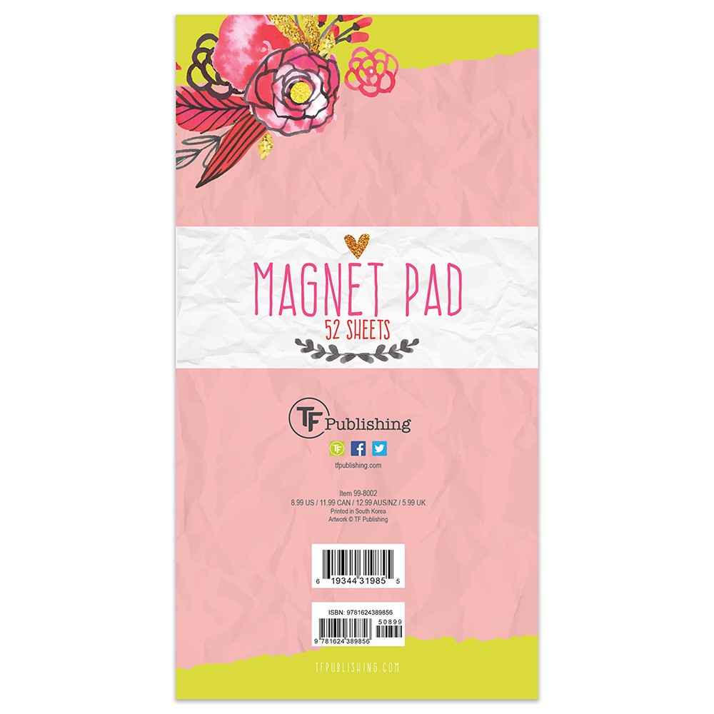 TF Publishing Magnetic Pad 52ct - Floral, Flowers Memo Magnet Pad