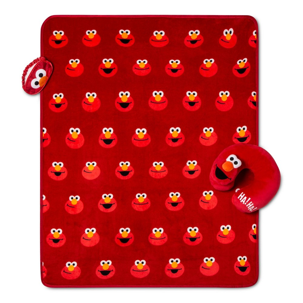Image of Elmo Throw and Neck Pillow Travel Set