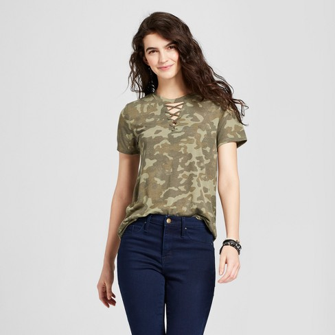 Women's Short Sleeve Camo Print Lace-Up Neck T-Shirt - Modern Lux (Juniors') - Camo Green - image 1 of 2